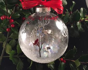 """White Christmas Ornament; Cardinal Christmas Ornament; 3"""" Cardinal and winter trees ornament"""