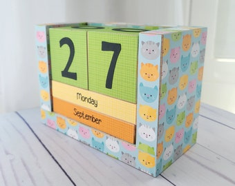 Wooden Perpetual Block Calendar, Month and Day Desk Calendar, Cat Lady Lover, Animal Vet, Veterinarian Gift, Here Kitty Kitty, Ready to Ship