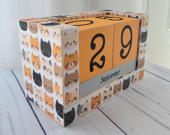 Perpetual Wooden Block Calendar - Cat Heads - Here Kitty - Handmade Calendar - Great Gift for Cat Lovers - Gifts for 20 - Gifts for Her