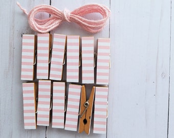 Girl Baby First Baby Shower - Pale Pink Stripes - Chunky Little Clothespin Clips w Twine for Display - Set of 12 - Clothesline Garland