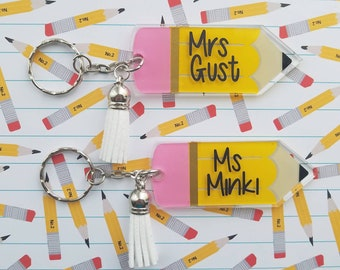 Set of 55 - Personalized Teacher Name Acrylic Pencil Keychain with Tassel, Teacher Appreciation Gift, Backpack Tag