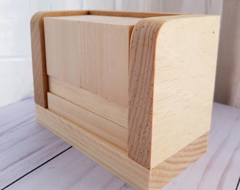 Blank Perpetual Wooden Block Calendar - Month and Day - Nekkid Plain Wood - Rounded Edge - DIY - Make it Yourself