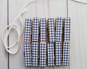 Photo Display Clothesline, Navy Blue Gingham, Chunky Little Clothespin Clips w Twine, Boy Baby Shower, Wedding Shower, Summer Picnic Decor