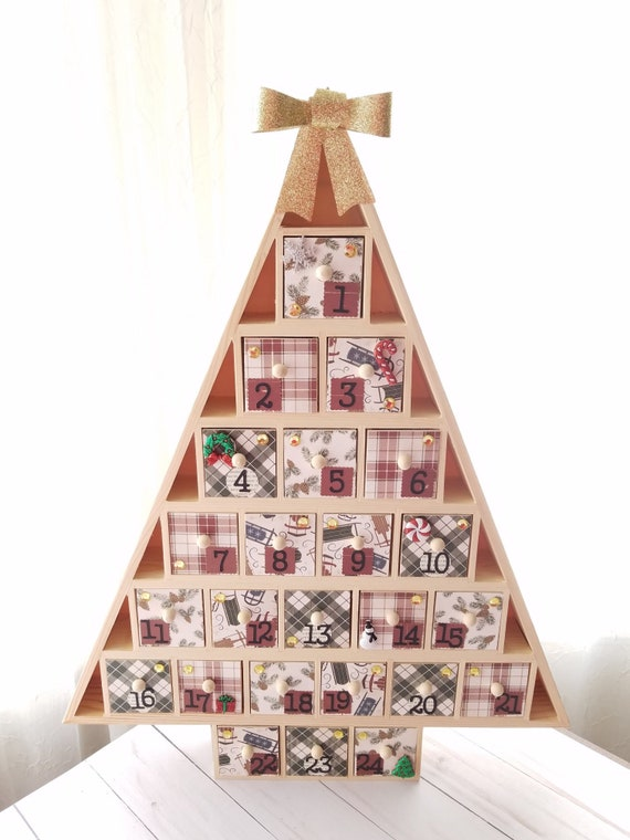 Christmas Tree Advent Calendar Wooden Drawers Wooden Advent Calendar
