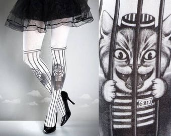 Free Pussy Riot Tattoo Tights black&white, printed tights, caged pantyhose, prison, politics, gay rights cat tattoo socks