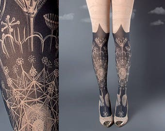 Tattoo Tights, Marine Life Tights nude Closed Toe one size full length printed tights, pantyhose, nylons, tattoo socks