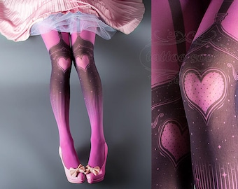 Tattoo Tights, Burlesque Heart magenta pink garters illusion one size full length printed tights pantyhose, by tattoo socks