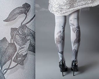 Tattoo Tights -  Climber Plant grey one size full length closed toe pantyhose tattoo socks ,printed tights