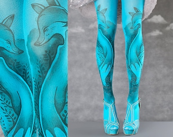 Tattoo Tights, Fox Tights cyan Closed Toe one size full length printed tights, pantyhose, nylons, tattoo socks