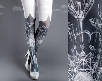 Tattoo Tights, Marine Life Tights white Closed Toe one size full length printed tights, pantyhose, nylons, tattoo socks