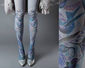 Exotic Birds Closed Toe grey one size full length printed tights, pantyhose, nylons, tattoo socks, tattoo tights
