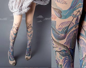 Exotic Birds Closed Toe nude color one size full length printed tights, pantyhose, nylons, tattoo socks, tattoo tights