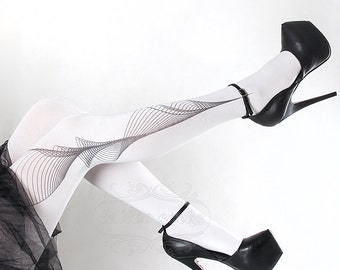Tattoo Tights -  Lines one size white full length printed tights, pantyhose, nylons by tattoosocks