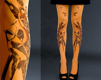 95a6ff25f NEW orange one size Birds full length printed tights closed toe pantyhose  summer spring