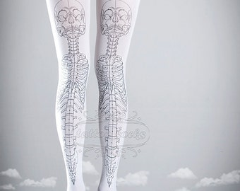 663838afea7d5e Skeleton tattoo tights, medical anatomy illustration black and white full  length printed tights, pantyhose, nylons, tattoo socks