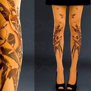 asphalt one size Triple Deer full length printed tights closed toe pantyhose Tattoo Tights