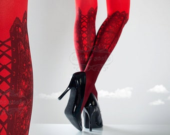 Tattoo Tights,  hot red one size Lace Up print full length closed toe printed tights pantyhose, tattoo socks