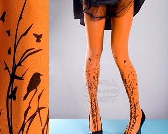 Tattoo Tights -  orange one size Forest Symphony full length closed toe printed tights pantyhose, tattoo socks, printed nylons