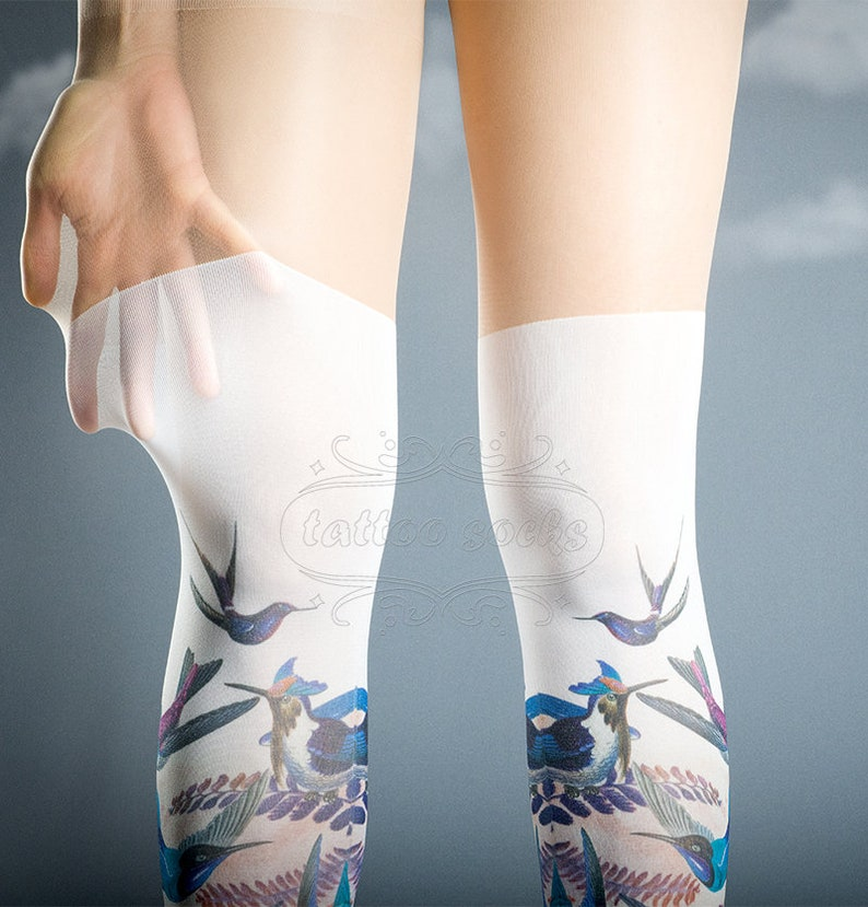 tatto nylons pantyhose tattoo socks ON SALE White and Nude Exotic Birds closed toe OS full length thigh highs illusion printed tights