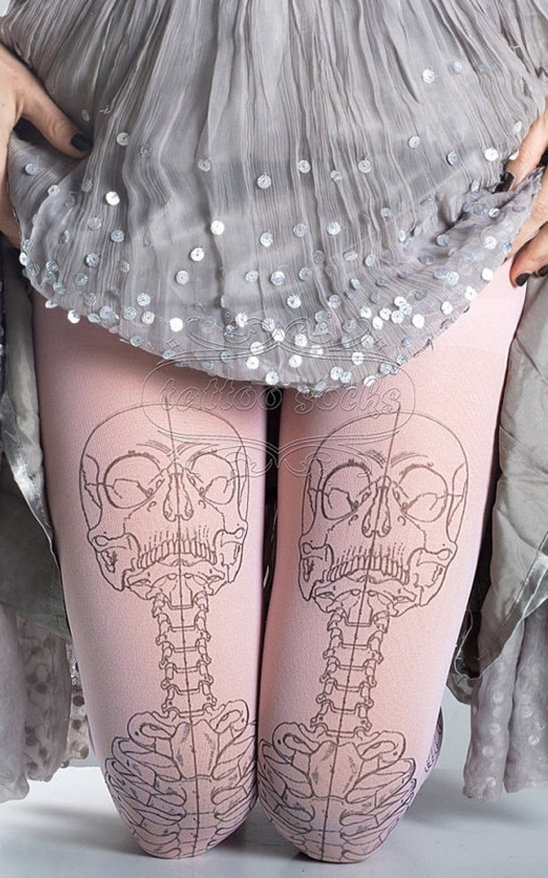 2ccf89fbf868d1 Skeleton tattoo tights medical anatomy illustration black and | Etsy