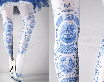 Tattoo Tights -  China Doll one size blue and white full length printed tights, pantyhose, nylons by tattoosocks