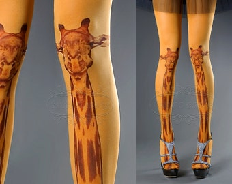 Tattoo Tights - orange one size Giraffe full length closed toe tights pantyhose, tattoo socks, printed tights