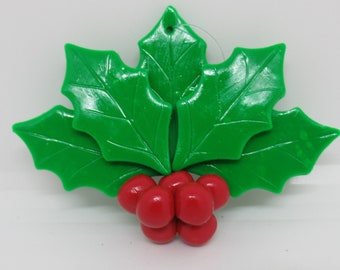 Holly berry and leaves Christmas ornament, polymer clay
