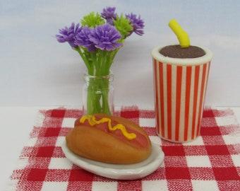 Miniature hot dog and soda dollhouse or fairy garden mini