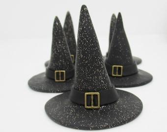 One Black glittered witch hat figurine