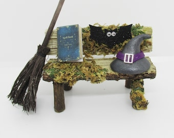 Miniature witch hat broom and bench, mini gardens dollhouse decorations