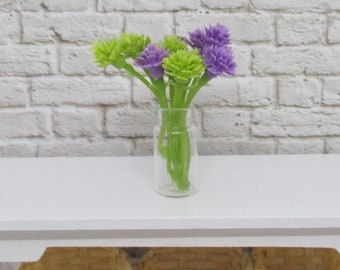 Dollhouse miniature vase of flowers, terrarium garden miniature glass vase
