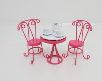 bistro miniature pink table and chairs set with tea cups, platter and pitcher