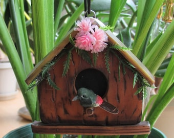 Bird house ornament, wood look with bird and flowers polymer clay