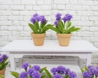 Pair of Miniature planters with purple flowers, Fairy or miniature gardens, terrariums and doll houses