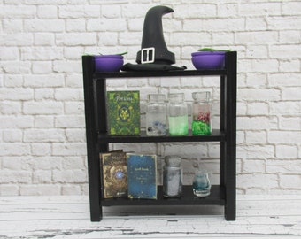Miniature witch potions and bookshelf set of 13 accessories, miniature Halloween