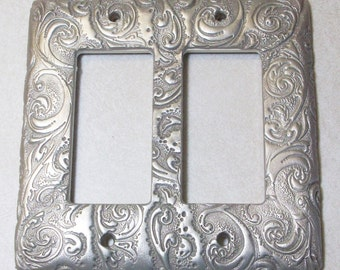 Silver Swirls single, double or triple toggle rocker light switch cover
