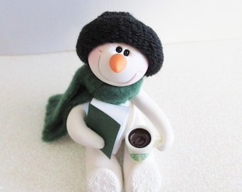 Snowman ornament: A good book and a cup of coffee are all I need, polymer clay Snowman decoration