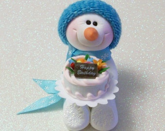Snowman ornament with a Happy Birthday Cake, polymer clay snowman