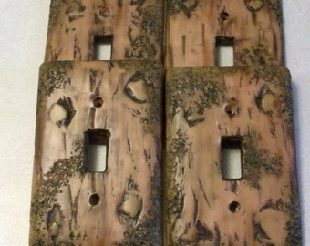 Bark of a tree light switch cover single toggle