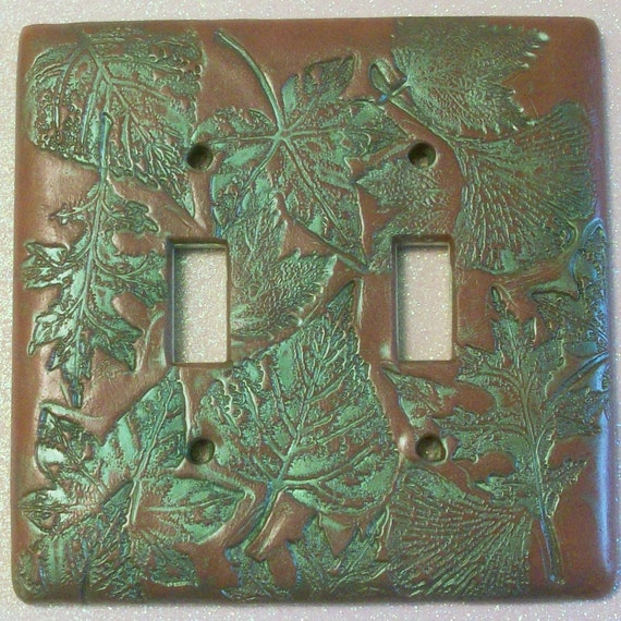 Double Toggle Light Switch Cover Collage Of Leaves In Nutmeg Etsy