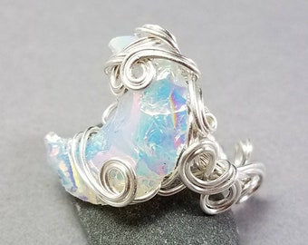 Aura Opalite Ring - Crescent Moon Ring - Crescent Ring - Silver Wire Wrapped Ring - Hand Wrapped Ring - Gift for Fairy Lover