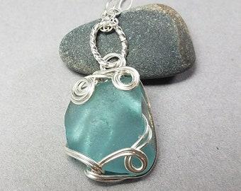 Teal Sea Glass Pendant- Green Sea Glass Necklace - Silver Sea Glass Pendant - Hand Wrapped Silver Necklace - Greece Sea Glass