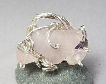 Purple Sea Glass Ring - Rose Quartz Ring - Amethyst Ring - Silver Sea Glass Ring - Hand Wrapped Silver Wire Ring - Puerto Rico Sea Glass