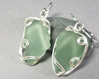 Seafoam Sea Glass Earrings - Green Sea Glass Earrings - Silver Sea Glass Earrings - Hand Wrapped Silver Earrings - Greece Sea Glass