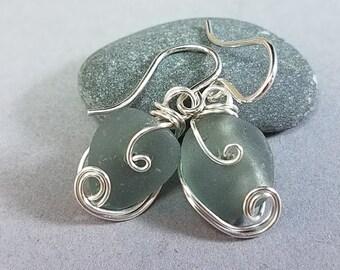 Gray Sea Glass Earrings - Grey Sea Glass Earrings - Silver Sea Glass Earrings - Hand Wrapped Silver Earrings - Puerto Rico Sea Glass