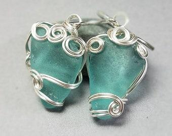 Teal Sea Glass Earrings - Green Sea Glass Earrings - Silver Sea Glass Earrings - Hand Wrapped Silver Earrings - Japan Sea Glass