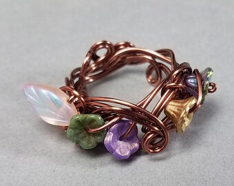 Flower Garden Ring - Fairy Garden Ring - Wire Wrapped Ring - Wrapped Flower Ring - Fairy Garden - Posy Ring -  Abundant - Abundant Garden -