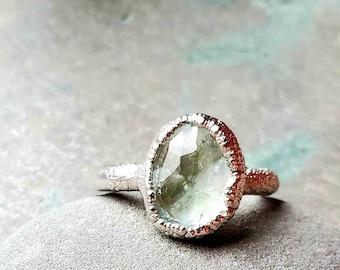 Aquamarine Ring - Gemstone Ring - Crystal Ring - Rhodium Ring - Ring Size 6 - Engagement Ring