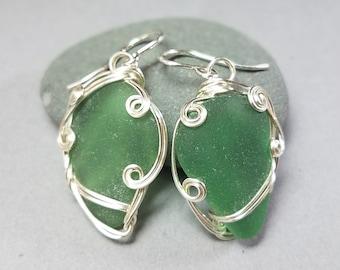 Green Sea Glass Earrings - Teal Sea Glass Earrings - Silver Sea Glass Earrings - Hand Wrapped Silver Earrings - Greece Sea Glass