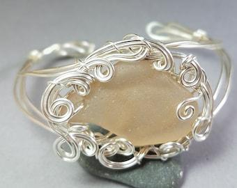 Peach Sea Glass Bracelet- Peach Sea Glass Cuff - Silver Sea Glass Bracelet - Hand Wrapped Silver Cuff - Japan Sea Glass